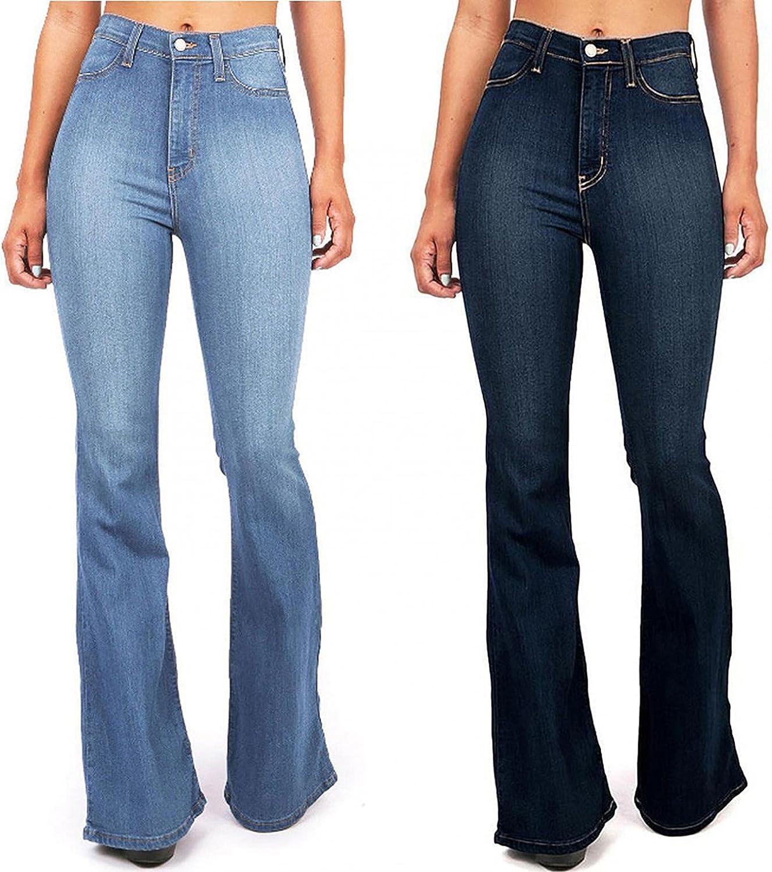 Larisalt Jeans for Women High Waist with Pocket, Womens Vintage Y2k Slim Fit Jeans Flared Skinny Denim Pants Plus Size