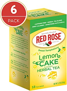 Red Rose Teas Sweet Temptations Tea, 6 Boxes of 18 (108 Tea Bags), Lemon Cake