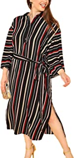 Floerns Women's Plus Size Striped Shirt Dress 3/4 Sleeve Loose Belted Dress