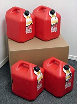 5 Gallon Gas Can, 4 Pack, Spill Proof Fuel Container - New! - Clean! - Boxed!: image