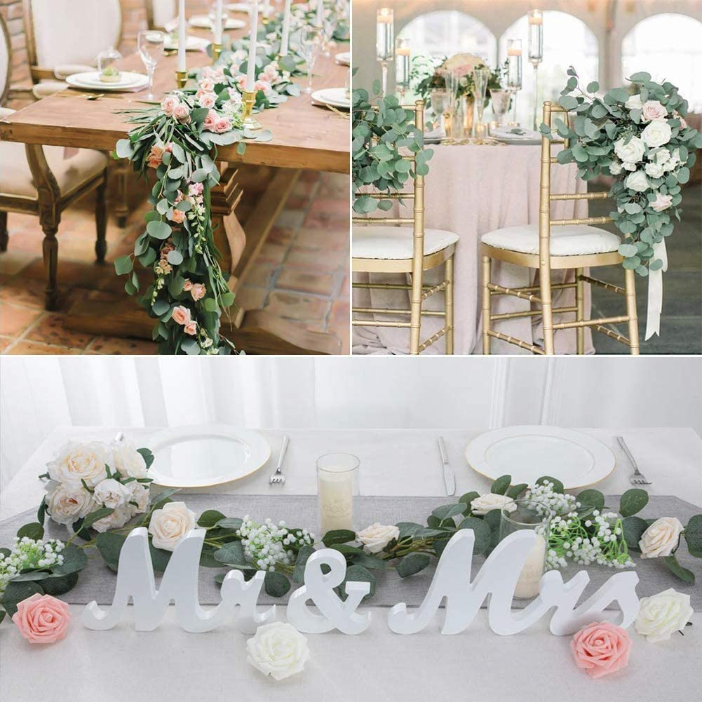 Boic 6.5FT Artificial Eucalyptus Willow Leaves Vine with Rose Artificial Flower Faux Plants Garland Hanging Greenery Fake Plant Outdoor Indoor Wedding for Home Garden Party Wedding Decoration