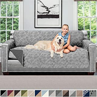 Sofa Shield Original Patent Pending Reversible Large Sofa Protector for Seat Width to 70 Inch, Furniture Slipcover, 2 Inch Strap, Couch Slip Cover Throw, Pets, Sofa, Vintage Floral Light Gray Charcoal