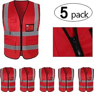 Mount Marter Reflective Safety Vest with 5 Pockets,Reflective Strips,Universal Size,5 Pack