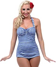 Esther Williams 1950s Style Royal Blue & White Gingham One Piece Swimsuit Size 14