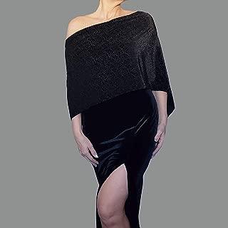 Burnout Velvet Black Shawl Fancy Evening Wrap Women's Holiday Clothing By ZiiCi