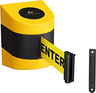 CCW Fixed Wall Mount Retractable Belt Barrier with ABS Case WMB-230 (30 Foot, Caution Do Not Enter Belt with Yellow ABS Case)