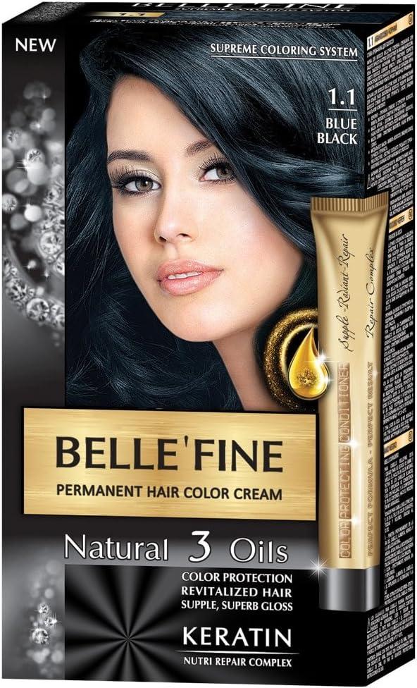 BELLE'FINE® - Black Series - Tinte permanente natural - Con 3 aceites y queratina - Negro azulado