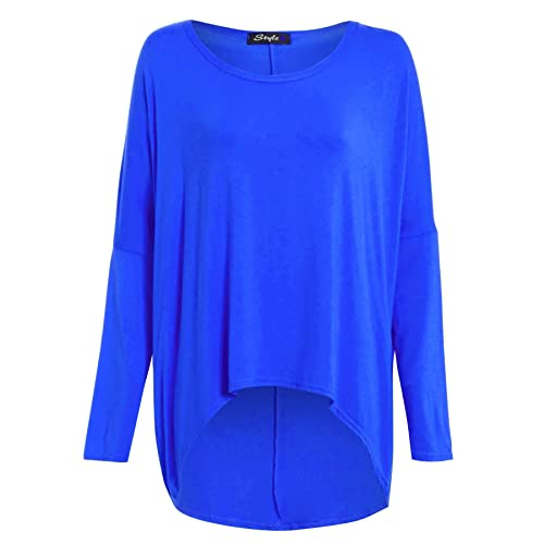 a7f6defdd2dd9 Womens Ladies Oversized Baggy Stretchy Off Shoulder High Low Dip Dipped Hem  Top