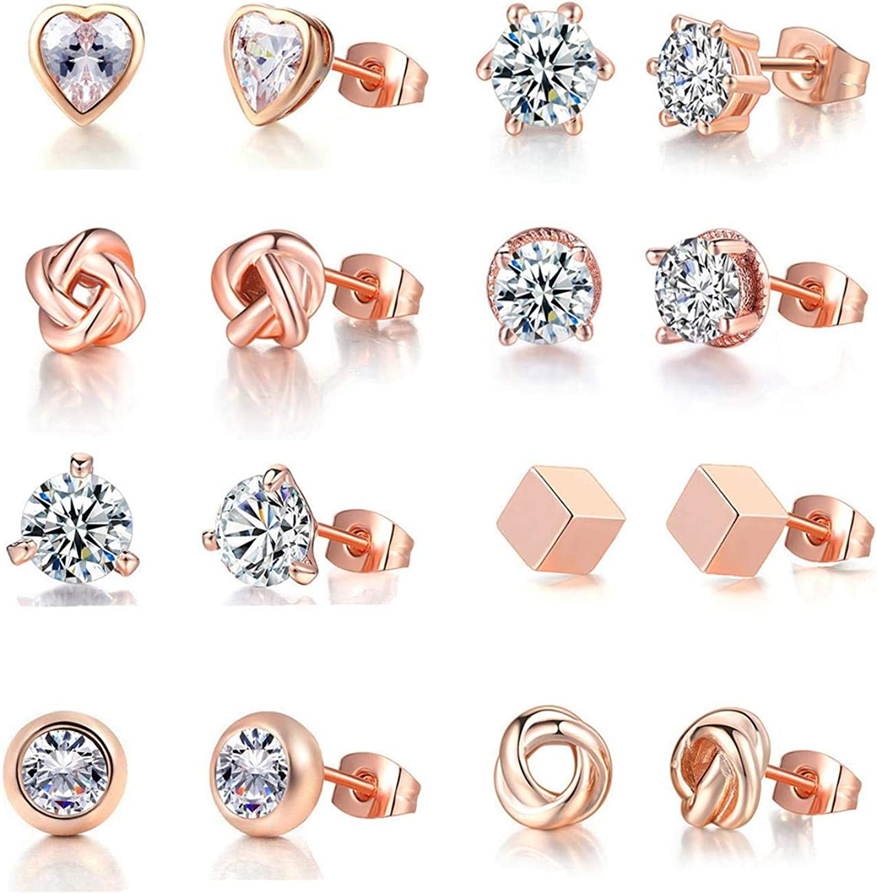 8 Pairs Rose Gold Stud Earrings Women Girls Pl for 18K Online limited Virginia Beach Mall product