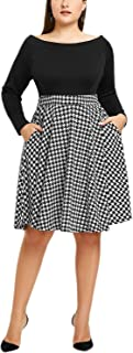 Women's Off The Shoulder Fit and Flare Plus Size Swing Dress with Pockets