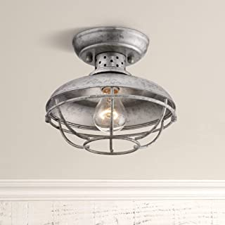 Franklin Park Rustic Farmhouse Outdoor Ceiling Light Fixture Galvanized Steel Open Cage 8 1/2