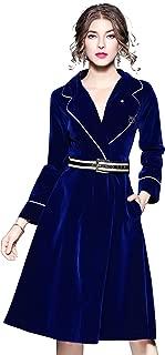 Women's Velvet V Neck Long Sleeves Cocktail Formal Midi Dress Autumn/Winter