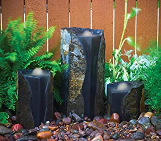 Aquascape Double Textured Basalt Cored Water Fountain Columns, Set of 3, for Landscape and Garden | 98548