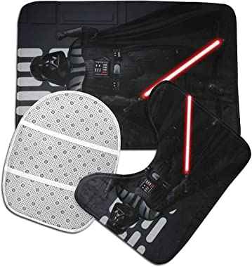 KALLYHHHAHA Darth Vader 3 Piece Bathroom Anti-Skid Pads Includes U-Shaped Contour Toilet Mat, Bath Rug and Toilet Lid Cover