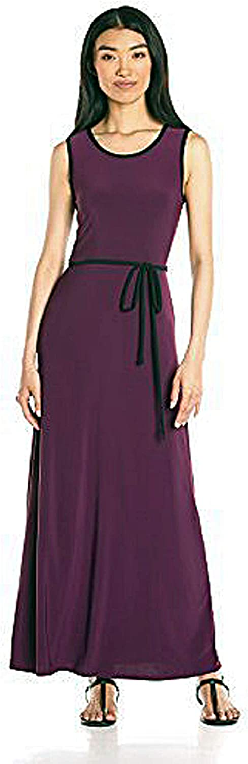 Star Vixen Women's Sleeveless Round Neck Maxi Dress with Piping and Self-tie Belt