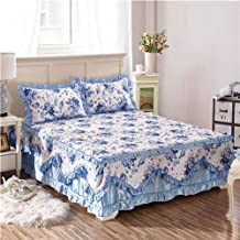 Lace Pure Cotton Mattress Cover,Ruffle Mattress Cover All Cotton Fabric Bed Skirt Pillowcase Quilt Vinyl Free Does Not Shr...