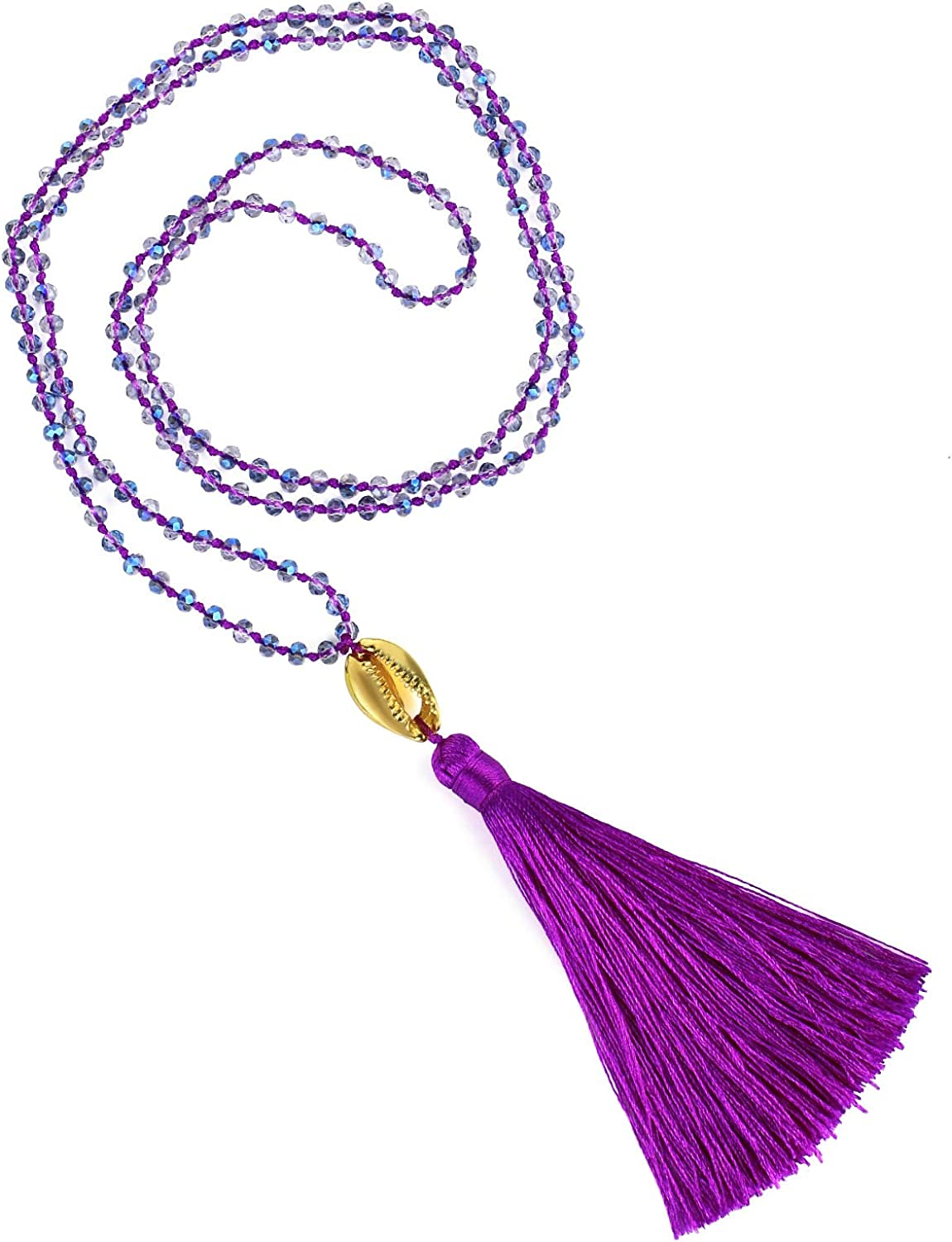 KELITCH Womens Tassels Necklace Shining Crystal Strand Necklace Gold Shell Necklace New 2020
