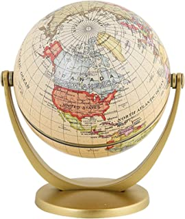 360 Degree Retro Rotating World Globe Earth Antique Home Office Desktop Decor Geography Educational Learning Map School Su...
