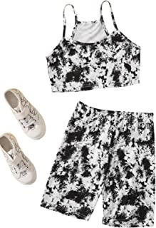Romwe Gril's Tie Dye Short Sleeve Twist Front Crop Top and Shorts Set 2 Piece Outfit