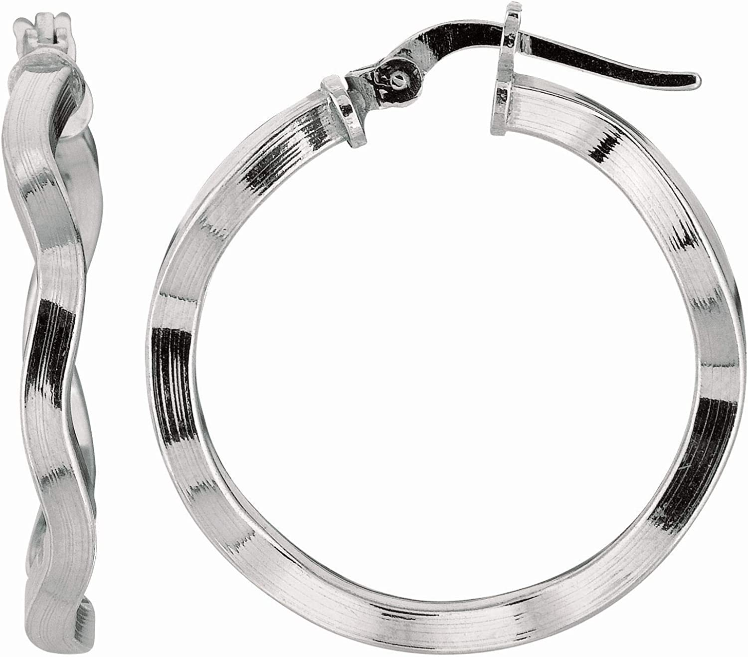 Silver New item with Rapid rise Rhodium Finish Shiny Hoop Earring w Twisted 2.0X20mm