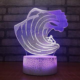 Intérieur de Sommeil de noël veilleuse s Illusion visuelle éclairage coloré 3D LED mer Vague modélisation Lampe de Table C...