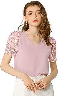 Allegra K Women's Elegant Tucked Lace Sleeve Blouse V Neck Solid Color Shirt Top