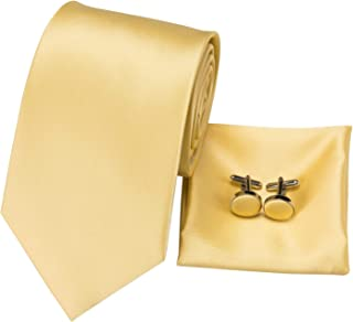 Hi-Tie Classic Gold Champagne Tie Pocket Square and Cufflinks Gift Box set Woven Silk Wedding Necktie
