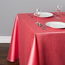 مفرش طاولة LinenTablecloth حرير مستطيلة الشكل , 90 x 132, مرجاني