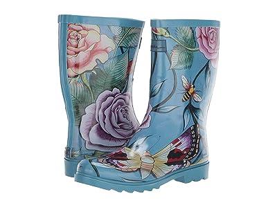 Anuschka Mid Calf Rain Boot (Roses D