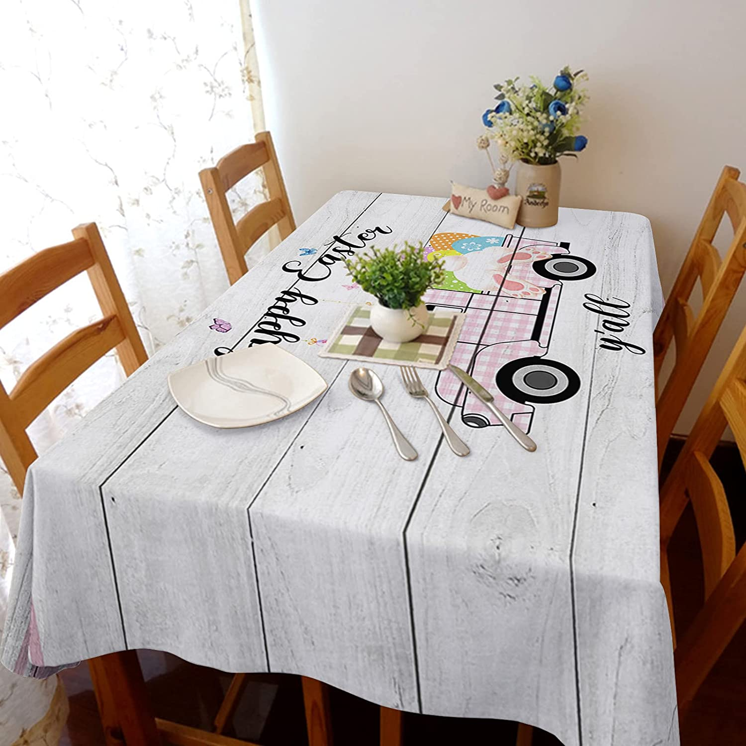 Tablecloth for Dinning New product type Room All items free shipping Easter Cute Butt Tru Egg Lucky Bunny