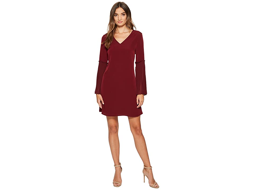 CeCe Madeline V-Neck Pleated Bell Sleeve (Burnt Crimson) Women