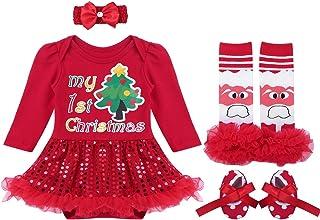 89d6c6f54e9a4 TiaoBug Bébé Fille Noël Robe Princesse Baptême Barboteuse Tutu Robe à  Paillettes Body Combinaison à Manche