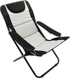 Homecall - Silla de camping plegable acolchada con respaldo ajustable (negro/crema)