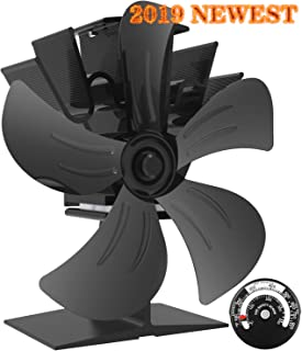 KINDEN Wood Stove Fan 5-Blade - Heat Powered Log Burner Increases 80% More Warm Air Than 2 Blade Eco-Friendly with Stove Thermometer (Aluminium Black, Large Size)