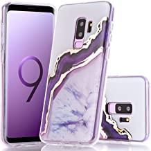Galaxy S9 Plus Case, BAISRKE Shiny Gold Purple Agate Crystal White Background Design Shock Absorption Soft Clear TPU Edge Bumper and Rigid Hard Plastic Back Cover for Samsung Galaxy S9 Plus