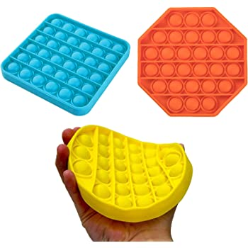 3 Pack Push pop Bubble Sensory Fidget Toy Autism Special Needs Stress Reliever Silicone Stress Reliever Toy Squeeze Sensory Toy for Homeschool & Office,