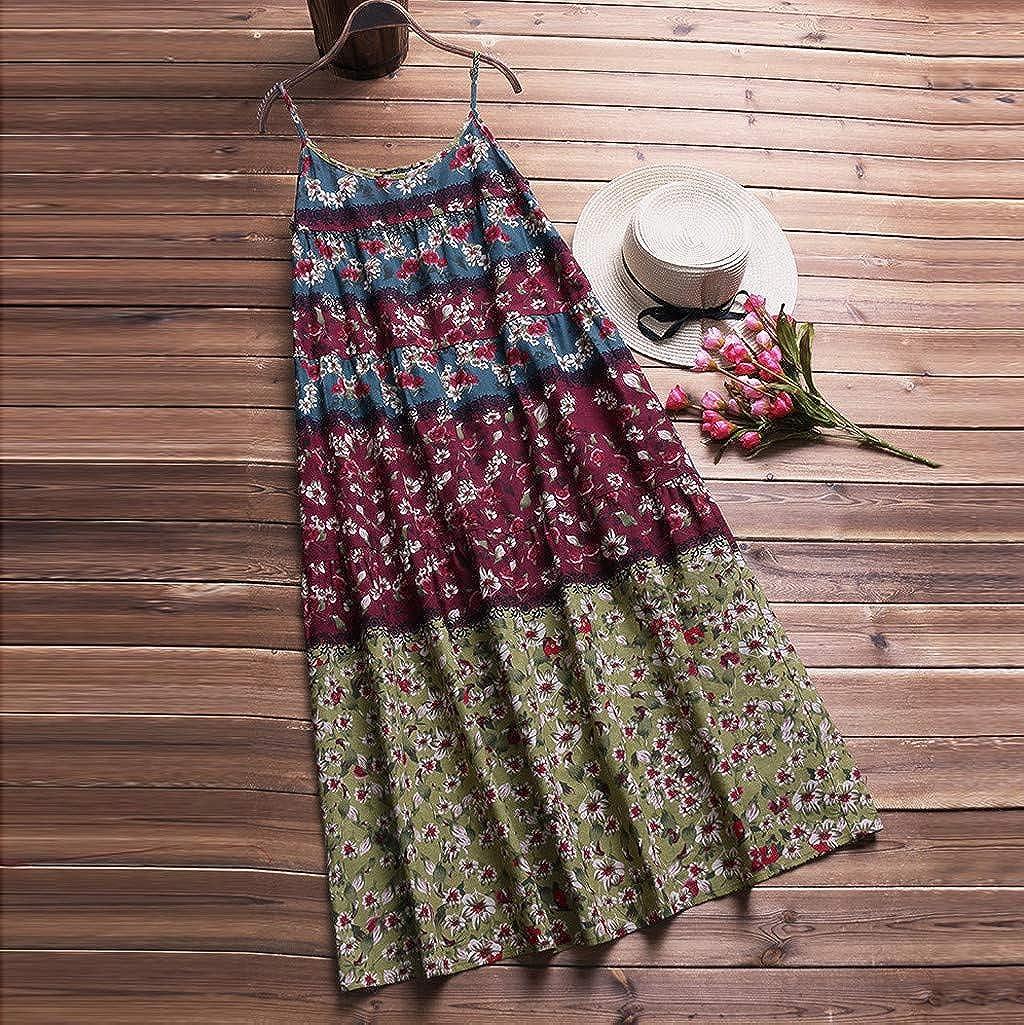 VOWUA Dress For Womens Boho Loose Linen Print Long Maxi Dress