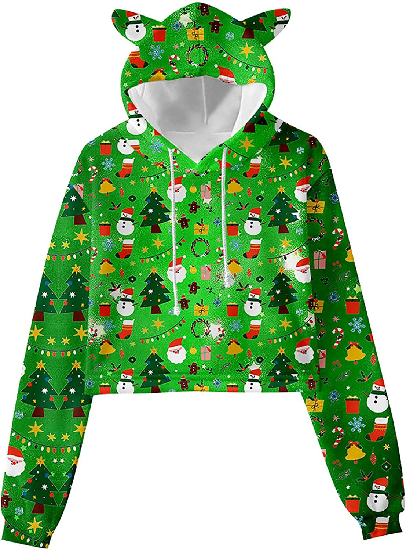 Women's Vintage Funny Cute Ear Pullover Tops Long Sleeve Crewneck Christmas Printed Sweatshirt Fashion Hooded Shirt