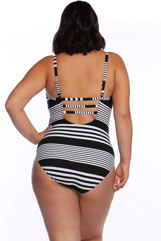 La Blanca Women's Plus Size Over The Shoulder One Piece Swimsuit