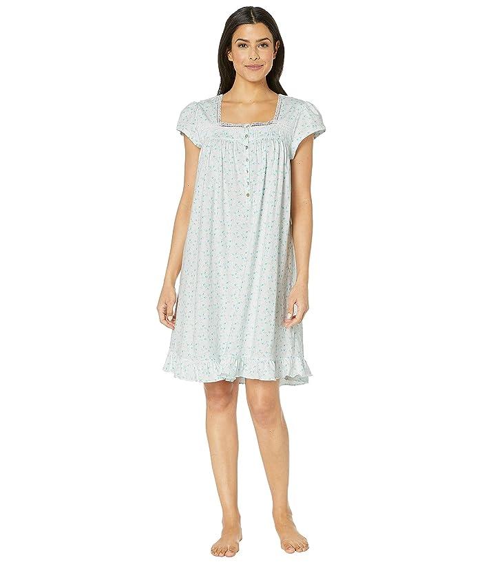 Eileen West Cotton Jersey Short Nightgown (White Ground Aqua Rosebuds) Women