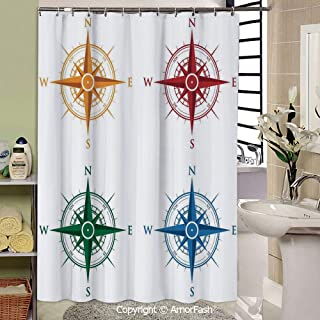 SCOCICI Compass,Shower Curtain Polyester Fabric Waterproof Machine Washable with 12 Hooks,69