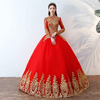 Wedding Dress Ladies Wedding Dress Round Neckline Short Sleeve Long Lace Evening Gowns Party Lady Red Dinner Costume Party C XL