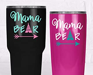 Mama Bear Decal, Yeti Tumbler Sticker, Mom Sticker with Teepee Arrow, Your Choice of Size and Colors