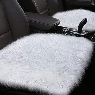 YJ.GWL Soft High Pile White & Silvery Faux Sheepskin Fur Chair Sofa Cover (20''x20''), Square Area Rugs Seat Car Cushion Throw
