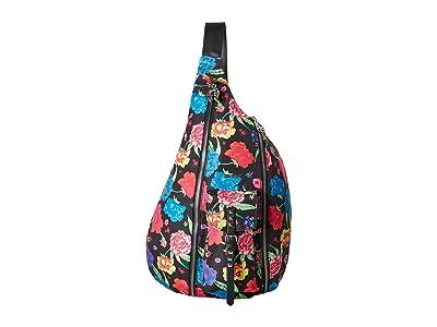 Betsey Johnson Sling Out Sister Sling Bag (Black Floral) Cross Body Handbags