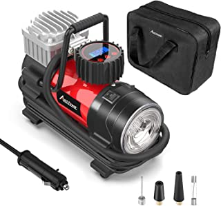 Avid Power Tire Inflator Pump, Portable Air Compressor 12V 125 PSI with Digital Display Gauge, LED Flashlight, Overheat Protection, Extra Nozzle Adaptors