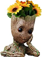"""B-BEST Guardians of The Galaxy Groot Pen Pot Tree Man Pens Holder or Flower Pot with Drainage Hole Perfect for a Tiny Succulents Plants and Best Christmas Gift Idea 6"""""""