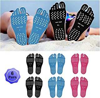 Beach Foot Pads Barefoot Adhesive Invisible Shoes Stick on Foot Pad Stickers Stick on Soles Anti-Slip Waterproof Silicone Unisex Footing Pad for Surfing Yoga Swimming 6 Pack