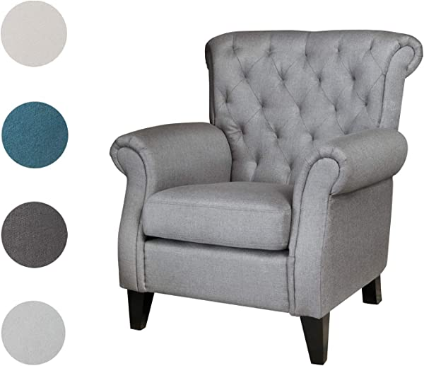 Top Space Fabric Accent Chair Mid Century Upholstered Fabric Single Arm Sofa Modern Comfy Indoor Decorative Furniture For Living Room Bedroom Club Office Dark Grey