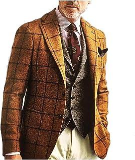 Men 2-Button Checkered Business Vintage Premium Select Lapel Blazer Jacket